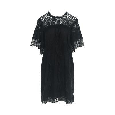see-through detail ruffle lace dress
